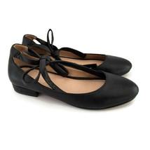 Franco Sarto 6 M Black Leather Ballet Flat W/ Wrap Ankle Tie  - $29.99
