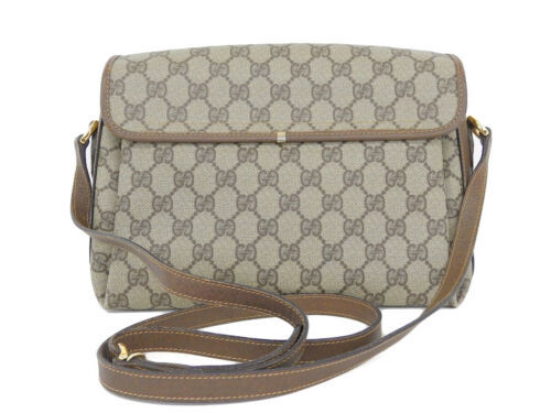 Auth Gucci Shoulder Bag Brown OLD Gucci Vintage GG Leather PVC Canvas Flap G394