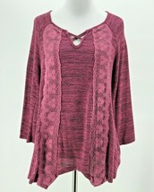 Unity World Wear Women's Pink 3/4 Sleeve Lacey Knit Sweater Size Small - $14.85