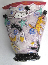 "2001 Handmade Built Slab Ceramic Vase Pottery Titled ""In My Dreams We Fl... - $399.99"