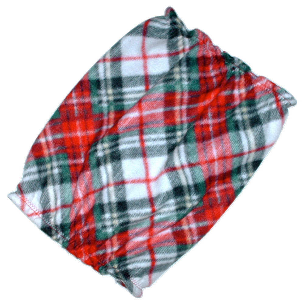 Red Green Black Diagonal Plaid Fleece Dog Snood by Howlin Hounds Sz Puppy Short