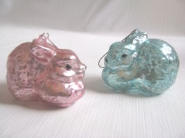 2   Glass Bunny Ornaments Pink Blue Mercury Glass Rabbits Easter Spring - $19.79