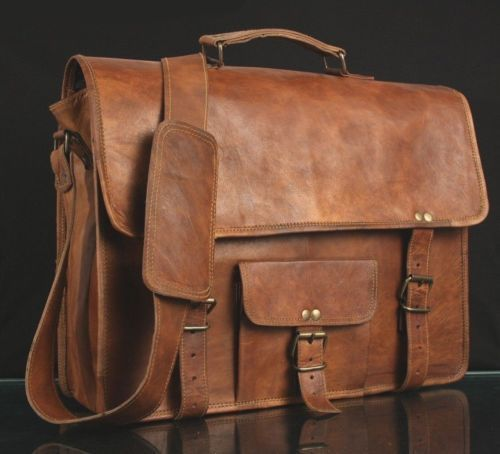 New Men's Briefcase Vintage Soft Leather Laptop Messenger Shoulder Office Bags