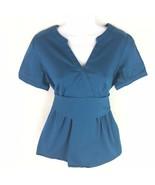 Ann Taylor LOFT Womens Blue Belted Maternity Top Scrub M - $17.81
