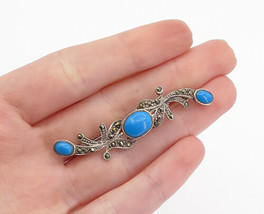 925 Sterling Silver - Vintage Turquoise & Marcasite Floral Brooch Pin - ... - $28.89