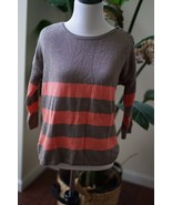 Gap Womens Sweater Size Small Beige Coral Striped Top Cotton Cashmere Bl... - $14.24