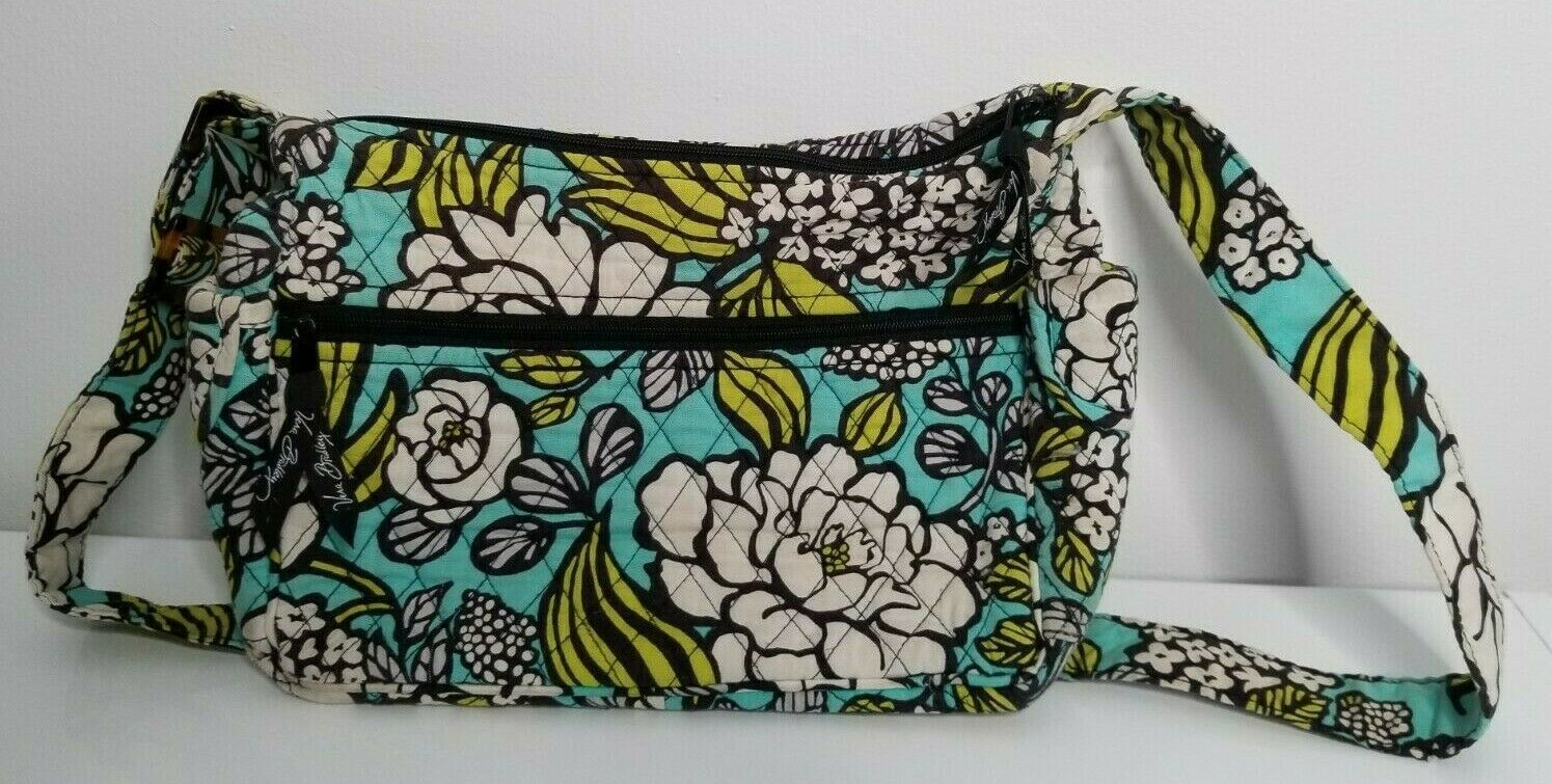 Primary image for Vera Bradley Island Blooms Floral Print Green Blue Quilted Shoulder Bag Purse