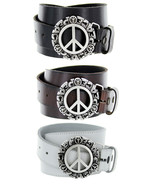 Peace Sign Italian Belt Buckle Genuine Leather Casual Jean Belt - $29.99