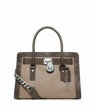 Michael Kors Hamilton Frame Out Taupe Grey Leather Ew Satchel Bag $348*NWT* - $219.99