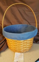 Longaberger 1996 LARGE FRUIT APPLE BASKET #13200 With Blue Fabric Liner - $39.95