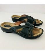 CLARKS Artisian Blue Leather Slides Sandals Womens US Size 9M - $40.54