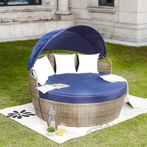 3-Piece Wicker Outdoor Day Bed with Blue Cushions - £670.84 GBP
