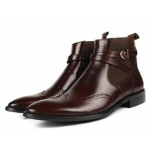 Brown Single Monk Rounded Buckle Strap Wing Tip Brogue Toe Leather Ankle Boots image 1