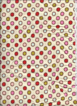 New Pink Blue Red Green Flowers on Cream Corduroy Fabric by the Quarter ... - $2.48