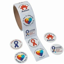 "Autism Awareness Roll Stickers (1 1/2"") Paper. 100 pcs./roll"