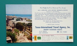 TEXAS Int'l Travel Agency AD + View Island of Rhodes Greece - 1960s INK ... - $4.94
