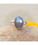 Labradorite ring, natural blue labradorite checker cut stone ring, silve... - $33.80