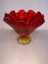 "Vintage Viking Amberina Art Glass Pedestal Bowl/ Compote Crimped Ruffle 7"" - $35.00"