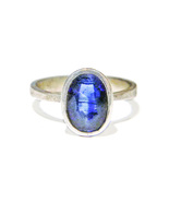 6x8mm Fac Kyanite Solitaire Sterling Silver Ring Size 9 - $74.99
