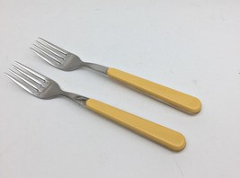 "Set of 2 STUDIO NOVA 8"" Dinner Forks Yellow Plastic Handles Inox 18-10 I... - $19.24"