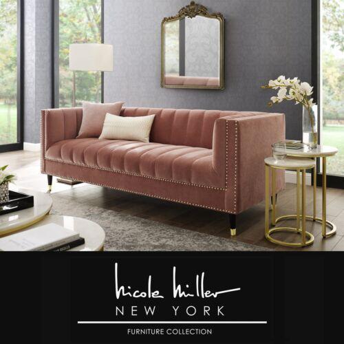 Nicole Miller Velvet Tufted Sofa Lounge Mid Century Nail