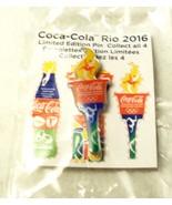 Lapel Cap Hat Pin Coca Cola 2016 Olympics Rio de Janeiro Torch New in Pkg - $3.85