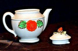 Ceramic TeaPot Japan Grey Pot with Yellow and Orange Flowers AB 535-B Vintage image 3