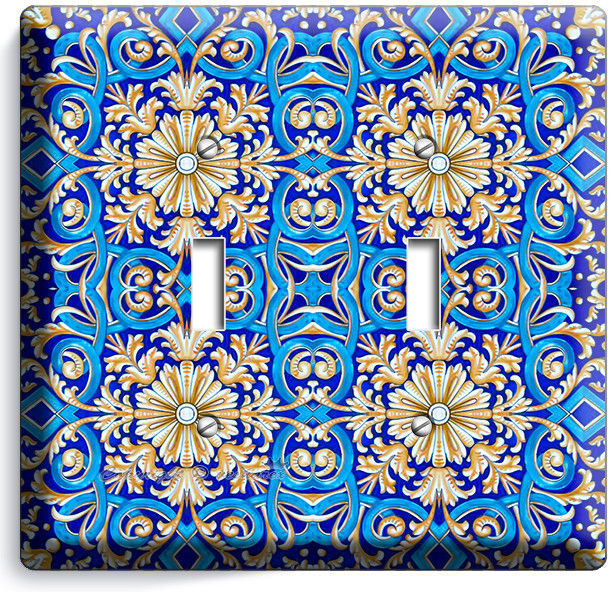 BLUE ITALIAN HAND PAINTED TILE LOOK LIGHT DOUBLE SWITCH WALL PLATE KITCHEN DECOR - $10.77