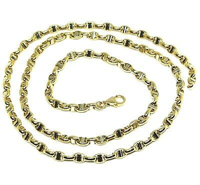 """18K YELLOW WHITE GOLD CHAIN SAILOR'S NAUTICAL MARINER BIG OVAL 4mm LINK, 24"""""""