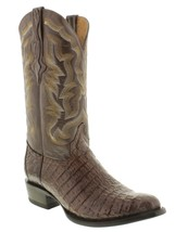 Mens Brown Genuine Crocodile Alligator Flank Skin Leather Cowboy Boots R... - £150.81 GBP