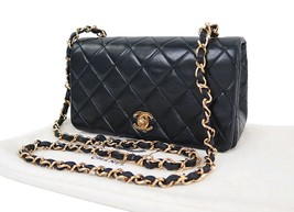 Authentic CHANEL Black Quilted Lambskin Leather Chain Shoulder Flap Bag ... - $1,750.00