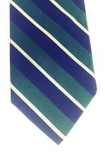 Robert Talbott Diagonal Stripe Tie Navy Dk Green White 100% Silk Hand-st... - $33.74