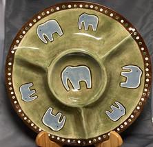 "World Market Elephants Snack Serving  Platter, Green & Brown 12"" Chip N Dip - $24.75"