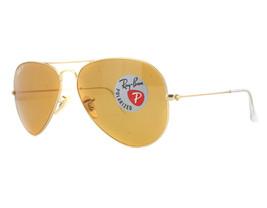 Ray Ban Sonnenbrille Aviator RB3025 112/06 58mm Gold mit / Orange Polari... - $245.05