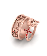 Cross and Skull Ring Red CZ Matching Anchor Holy Cross Engagement Ring B... - $344.99+