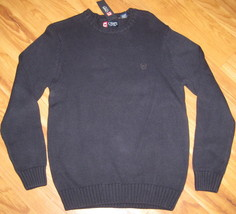 New Chaps Knit Sweater Cotton Navy Blue 100% Cotton Small S Sm $69.50 Knitted - $28.04