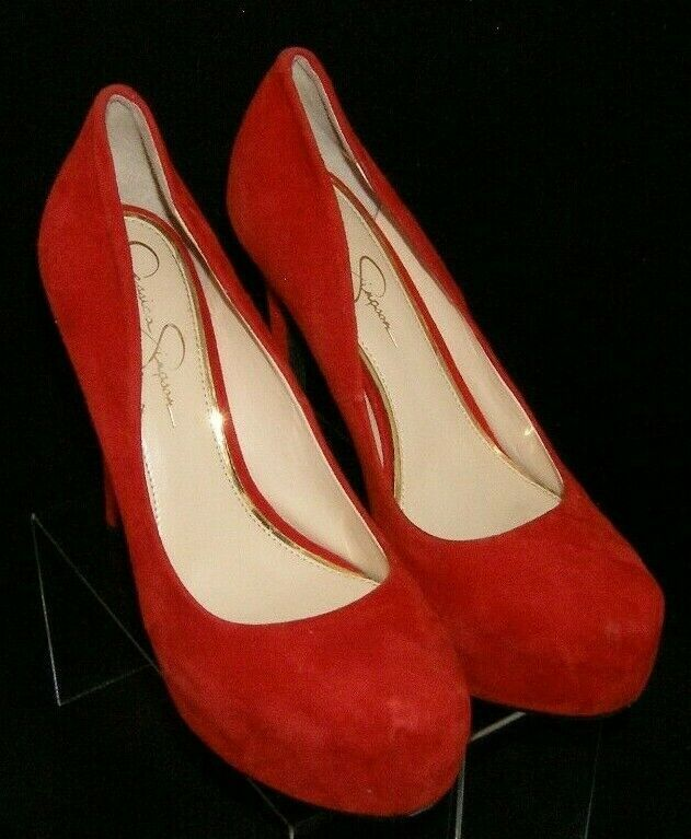 Jessica Simpson 'Rebeca' red suede round toe slip on platform heels 9M 6720
