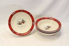 "Royal Seasons Snowman Large Serving Bowls Xmas 10"" Lot of 4 - $39.19"