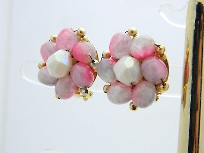 HONG KONG Gold Tone Pink Purple Acrylic Bead Clip Earrings Vintage