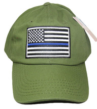 Olive Green USA Police Thin Blue Line Low Profile Hat Baseball Support Law - $19.88