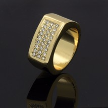 Men's 14k Gold Plated Hip-Hop 3 rows CZ Iced Out Ring Size 7 8 9 10 11 12 - $12.99