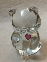 Fenton Glass Teddy Bear - Red Heart Ruby July Birthstone Paperweight, SI... - $15.80