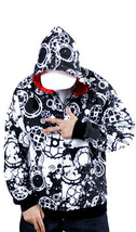 Dissizit Fixed Gear Graphic Cycling Zip Up Hoodie in Black and White NWT image 2
