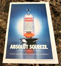 ABSOLUT SQUEEZE Large-Size Newspaper Vodka Ad w/ AbsolutDigitalArt.com C... - $9.99
