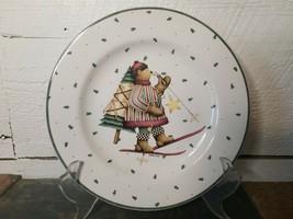 "Sakura Debbie Mumm Sledding Characters Salad Plate Bear Skiing 8.25"" - $6.92"