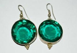 Vintage Sterling Silver Green Amethyst Earrings - $29.60