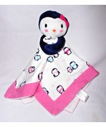 Gymboree Baby Essentials Penguin Security Blanket Lovey Pink White - $25.23