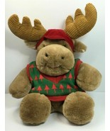 "Vintage 1991 Commonwealth 14"" Christmas Merry Moose Plush Toy Stuffed w/... - $22.23"