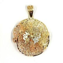 18K YELLOW WHITE ROSE GOLD FLOWER, ONDULATE, FINELY WORKED GRID 2.5cm PENDANT image 3