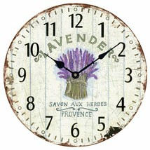 "Wall Clock 12"" Floral Flowers Lavender Purple Vintage Shabby Chic Farmhouse - $49.00"